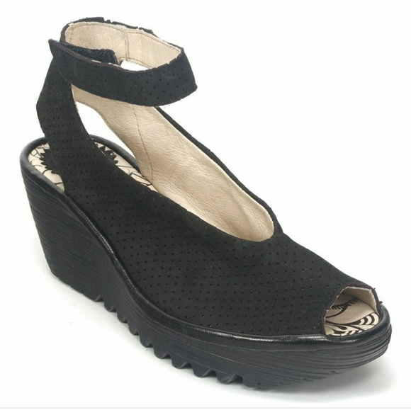 9f8ec5ddbbe FLY London Yala Perf Peep-Toe Black Shoes Wedge 38
